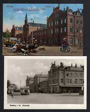 107540 2 AK Freiberg um 1920 Bahnhof Humor glücklich angekommen Fotokarte 1956
