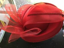 Vintage Red Womens Pillbox Base And Brim Multi Level  100% Wool Netted Bow Hat