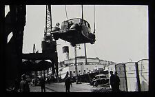 Glass Magic Lantern Slide CAR BEING LOADED ON A SHIP C1930 PHOTO CARS