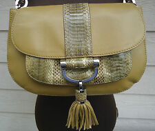 NEW $895 Michael Kors Tonne Shoulderbag Sage BrownTassel Leather Snakeskin