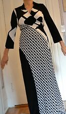 DIANE VON FURSTENBERG DIANA WRAP LONG BLACK DRESS NEW 14 CHAIN LINK HUGE