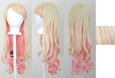 "30'' Long Curly w/ Long Bangs Flaxen Blonde, Pink Cosplay ""Sheryl"" Wig NEW"