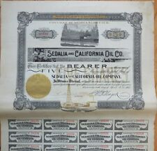 1902 Oil Stock Certificate: 'Sedalia & California Oil Co.' - Ca