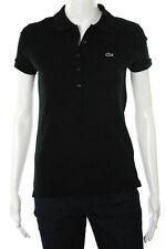 Lacoste Black Cotton Short Sleeve Quarter Button Polo Top Size European 34
