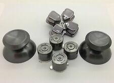 Metal Grey thumbsticks + Buttons and Chrome Grey D-pad for PS4 Controllers