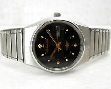 VINTAGE CITIZEN AUTOMATIC WIND DAY DATE MID SIZE 34MM BLACK DESIGNER MENS WATCH