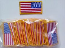 "50 Reverse USA American Flag (G) Embroidered Patches 3.25""x1.75""-"