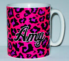 Pink Leopard Skin Mug PERSONALISED With NAME Or Message Great Animal Print Gift