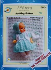 1 x DOLLS KNITTING PATTERN BY Val Young for a 10-11 inch doll No. 280