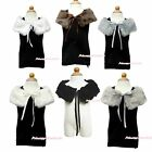 Baby Cape White Beige Brown Khaki Fauz Fur Flower Wedding Kids Girl Collar Shawl