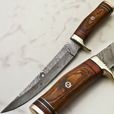 Rody Stan HAND FORGED DAMASCUS BLADE HUNTING KNIFE | HARD WOOD | R-4454