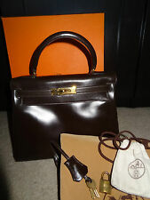 Authentic Hermes Dark Brown Kelly 28 Box Calf Bag