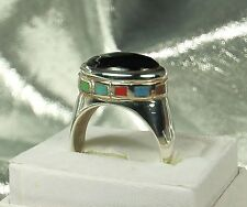 NEW! STERLING ONYX & Multi GEMSTONE Ring~SZ 9 UNISEX~Turquoise~Lapis~Coral~MORE!