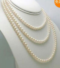 "6-7mm white freshwater Cultured pearl necklace 54""AA"