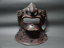 Japanese Iron lacquered Menpo Samurai face guard of Samurai armor.  17th century
