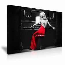 Sexy Lady Piano Red Dress Canvas Wall Art Picture Print A1 Size 76cmx50cm