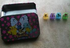 RARE Vintage Pokemon Tin set w/ Hair Clips Squirtle Pikachu Eevee Jigglypuff