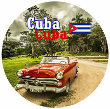 CUBA - SIGHTS / FLAG - ROUND NOVELTY SOUVENIR FRIDGE MAGNET - BRAND NEW - GIFT