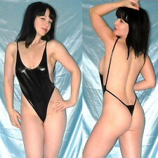 knapper LACKBODY in schwarz* S  hohe Beine am Stringbody* wetlook Gymnastikanzug
