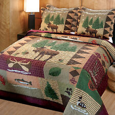 Rustic Quilt Set Moose King Size Quilt Bedding Comforter 2 Shams Bedspread NEW