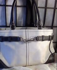 Coach Tote Bag Ivory Leather Front Buckle Brown Shoulder Straps