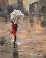 "NEW LEON GOODMAN ORIGINAL OIL  ""First Dates Girl in Red"" London rain  PAINTING"