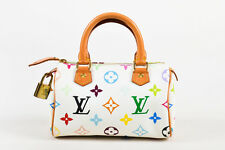 "Louis Vuitton White Multicolor Coated Canvas Leather ""Mini Speedy HL"" Bag"