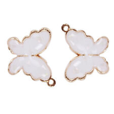 20x White&Gold Plated Butterfly Insect Jewelry Charms Alloy Pendants Findings D