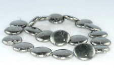 20MM  IRON PYRITE GEMSTONE FLAT ROUND CIRCLE LOOSE BEADS 6.5""