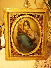 Vintage Mary & Jesus Picture Florentine Wood Frame lighted