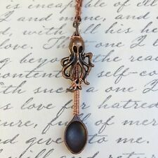 Copper Wire Wrapped Octopus Spoon Charm Necklace