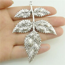 16505*3PC Antique Silver Vintage Large Plant Tree Leaf Pendant Charm Alloy
