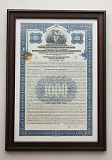 Rare! German Savings Bank 1926 Gold bond / Dollar loan --- framed OFFICE DECO
