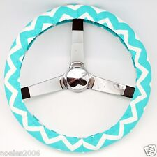 Handmade Steering Wheel Cover Mint Green and White Chevron Zig Zag
