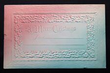 c.1913 Merry Christmas Postcard Heavy Embossed Hand Painted - Posted