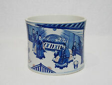 Chinese  Blue and White  Porcelain  Brush  Washer  With  Studio  Mark     M1001