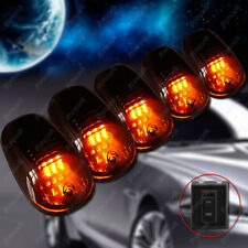 Black Lens Amber LED Cab Roof Marker Running Clearance Lights Dodge SUV Off Road