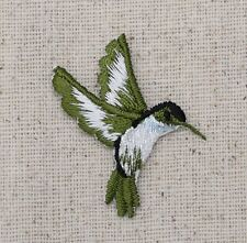 Iron On Embroidered Applique Patch Light Blue Hummingbird Facing Right SMALL