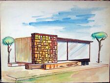 Acquerello '900 su carta Watercolor Architettura futurista cubista razionale-15