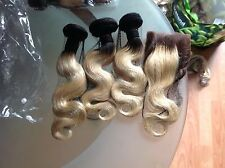 "Brazilian Virgin Hair  Blonde Dark Root 3/613# 12""14""16&10 Closure,7A Grd,350g"