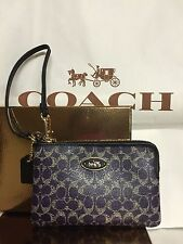 COACH VIOLET/BLACK COATED CANVAS SIGNATURE PRINT SMALL WRISTLET With Gift Box