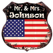 BP0168 America Flag MR. & MRS JOHNSON Family Name Sign Shop Home Chic Decor Gift