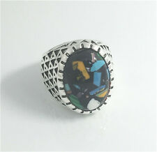 Vintage Woman 316L Stainless Steel Vogue Design Mini Stone Ring Size 9  NEW B7
