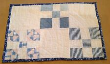 Vintage Patchwork Quilt, Bow Tie, Nine Patch, 1930's, Blue, Pink, HAND QUILTED