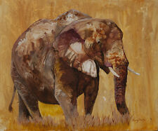 AFRICAN GOLD Original 20x24 ELEPHANT Art Painting on canvas Sherry Shipley