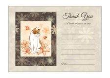 Cat And Flowers Thank You Note Cards With Brown Kraft Envelopes - Pack of 20