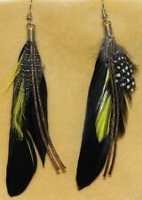 Black Boho Hippie Gypsy Tribal Feather Festival Belly Dance Dancing Earrings