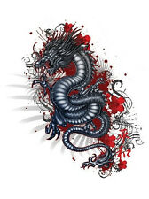 RED HIBISCUS BLACK Coiled Asian DRAGON STICKER/Vinyl DECAL