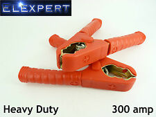 PAIR X2 RED POSITIVE CROCODILE JUMP LEAD BOOSTER CLIPS - 300 AMP - HEAVY DUTY