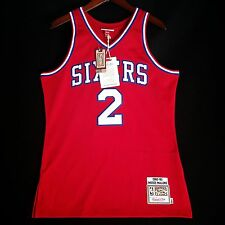 100% Authentic Moses Malone Mitchell Ness Sixers Jersey Size M 40 - iverson